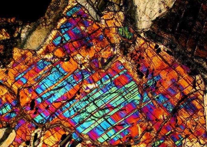 NWA 5018 meteorite thin section viewed through a polarizing microscope
