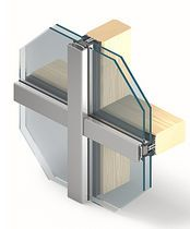 Stick system curtain wall / aluminum and glass