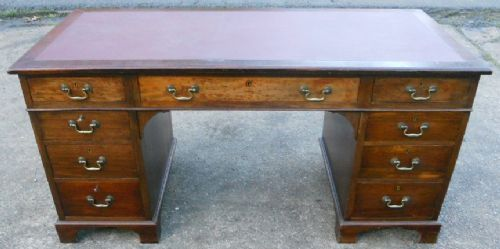 Georgian Style Mahogany Twin Pedestal Writing Desk