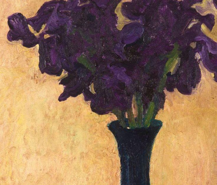 Walter Meyer; Irises in a Blue Vase