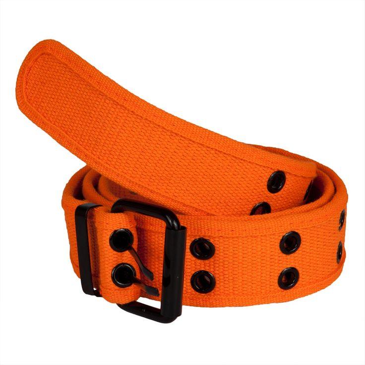 Orange Web Double Grommet Belt