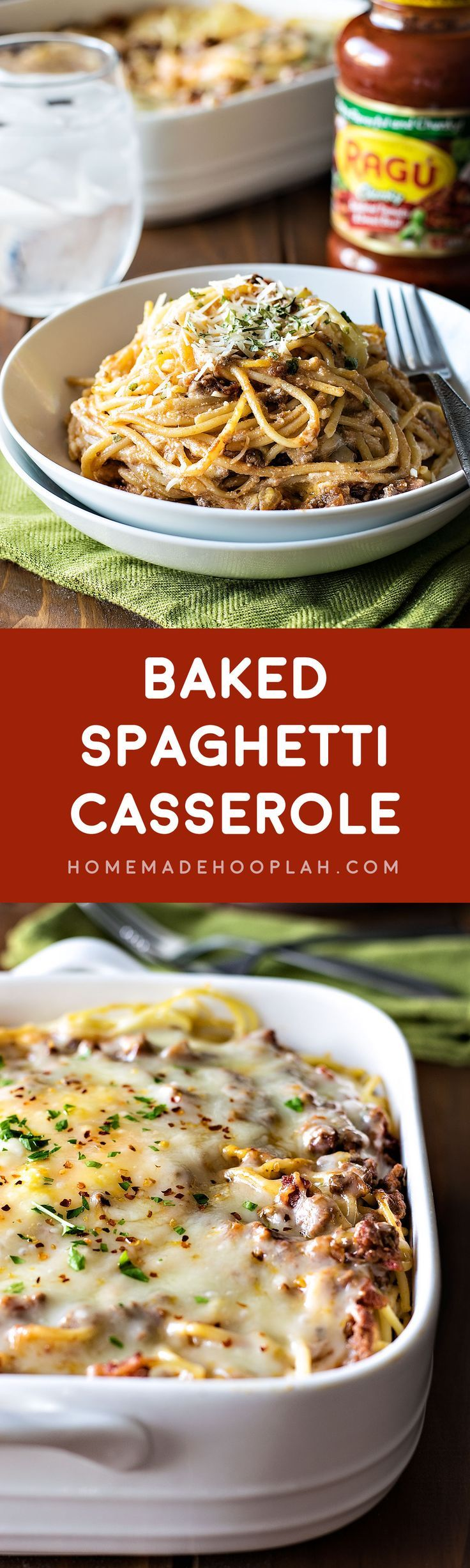 Baked Spaghetti Casserole! Revamp your boring spaghetti by baking it in a deep dish filled with delicious cheeses, savory meats, and Ragú sauce. | HomemadeHooplah.com #simmeredintradition #AD