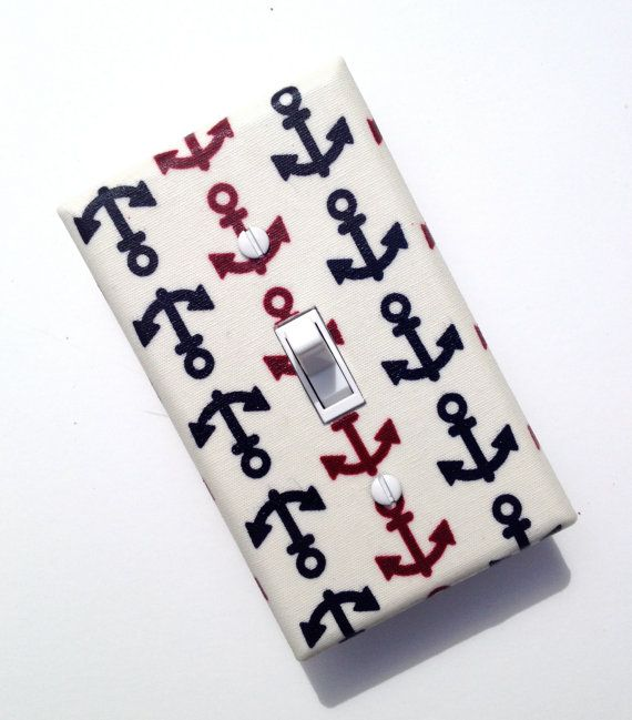 Anchor Light Switch Plate Cover / Japanese Nautical / Bathroom / Kitchen / Red, Blue and White
