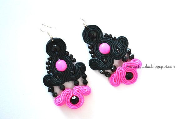 Soutache pink earrings by StylazkaSoutache on Etsy