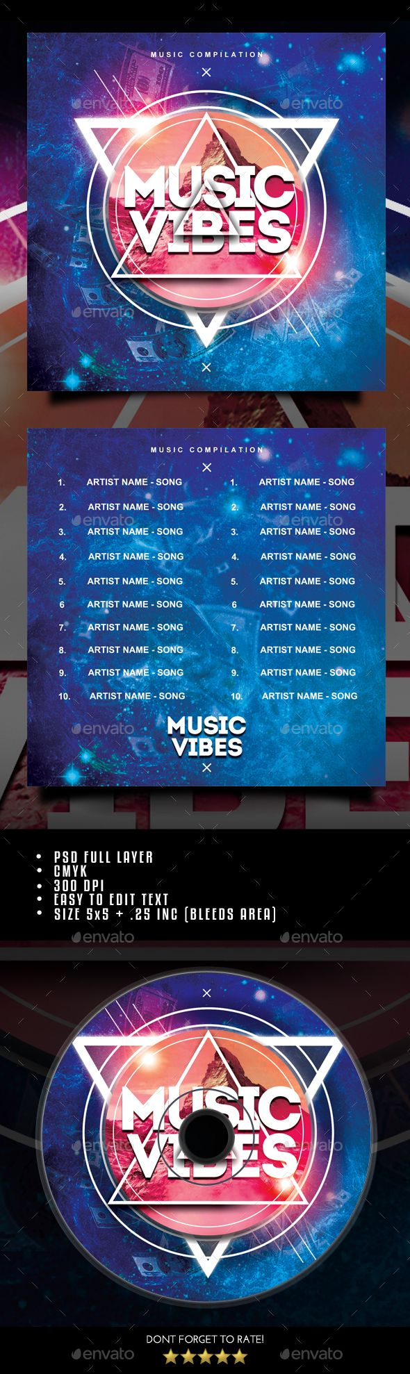 Music Vibes CD #Cover - #CD & #DVD Artwork Print #Templates Download here: https://graphicriver.net/item/music-vibes-cd-cover/19496702?ref=alena994
