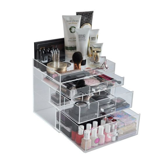 Contemporary Art Sites Clear Acrylic Makeup Organizer ChicBox Vanity by BeautyFill