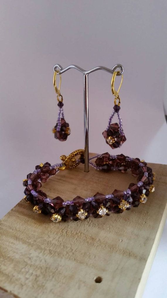 Check out this item in my Etsy shop https://www.etsy.com/au/listing/250197468/crystal-purple-hand-beaded-bracelet