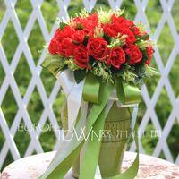 2015 Cheap Red dama de honra de casamento puro romântico rosa Artificial flores Bouquets de noiva Handmade flores Bouquets