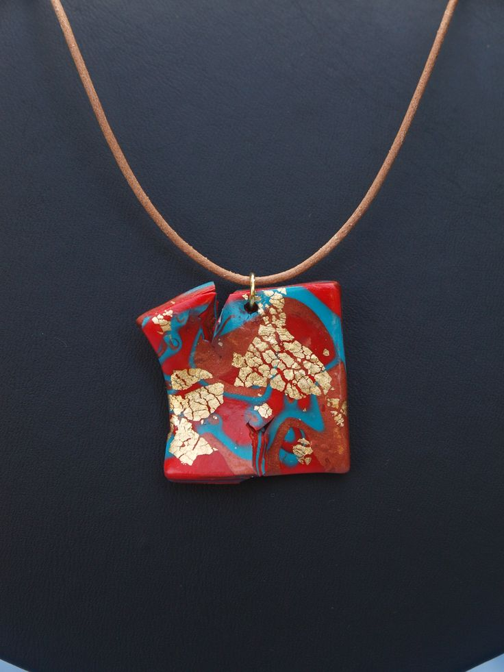 crackle clay pendant
