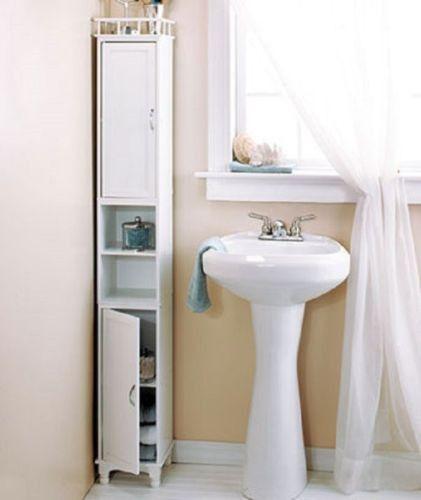 "Cabinet Storage Slim Kitchen Pantry Bath Laundry Display Shelf 65"" Tall Wood NEW"