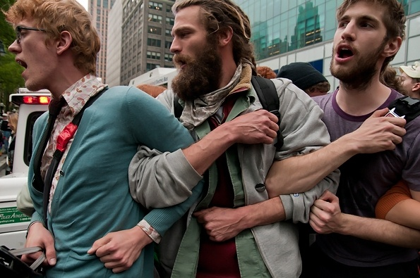 Linked Arms (May Day, Occupy Wall Street) - Sacha Lecca