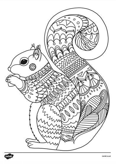 Squirrel Printable Colouring Sheet - Autumn Colouring ...
