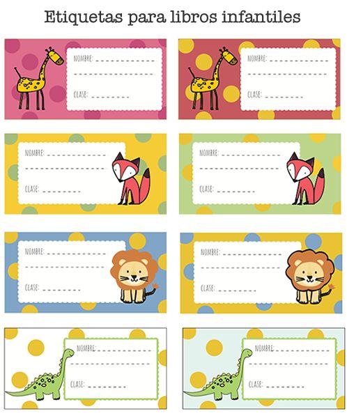 Etiquetas infantiles para poner el nombre a los libros. Puedes descargarlas gratis en: http://dibujos-para-colorear.euroresidentes.com/2013/09/etiquetas-de-libros-para-imprimir.html