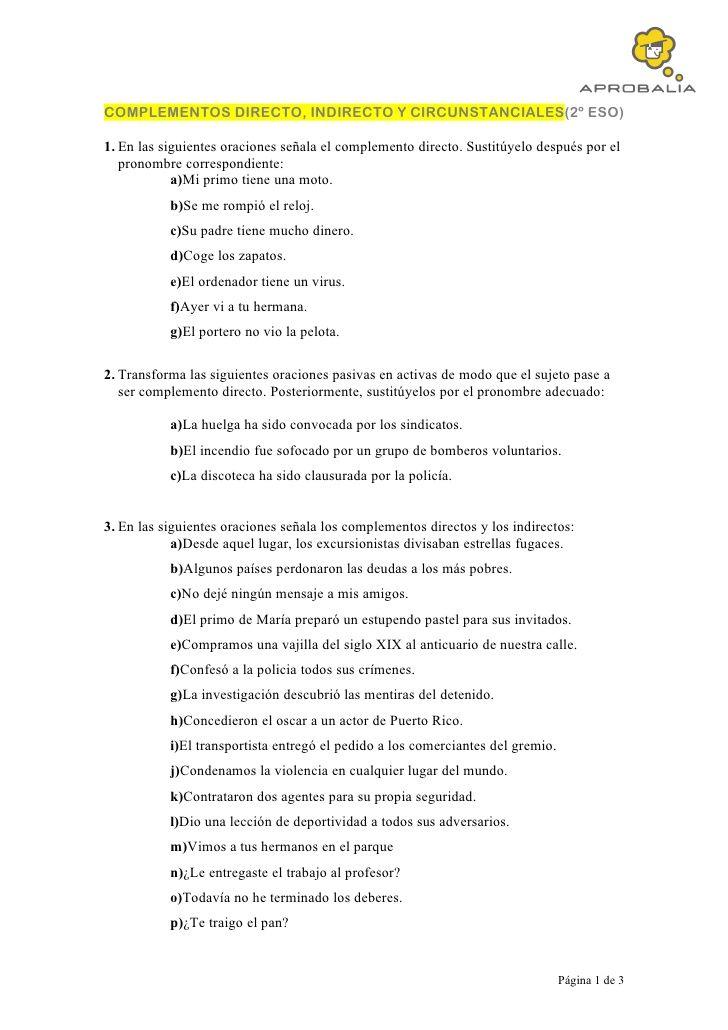 Complementos Directo Indirecto Y Circunstanciales2º Eso1