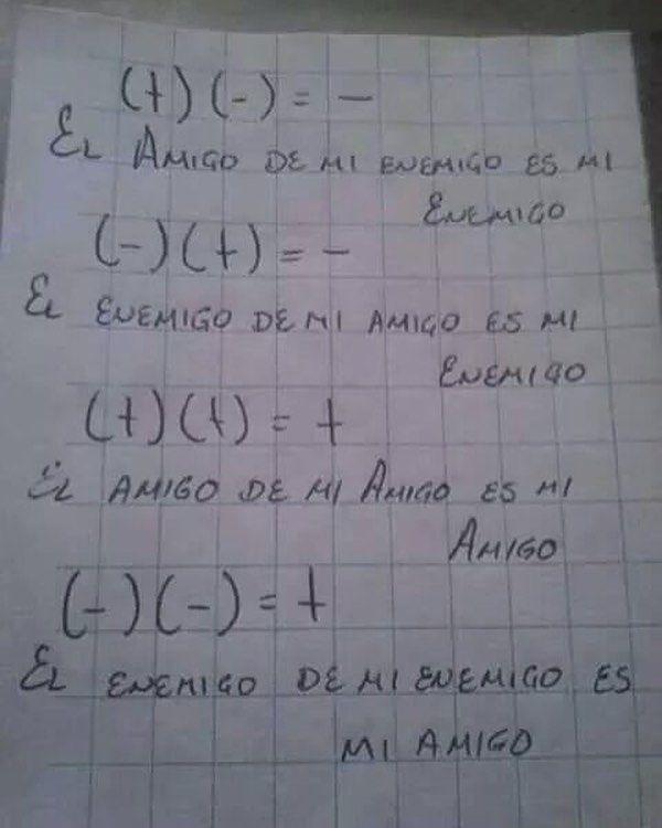 No sabia que las matemáticas interferían en la amistad...
