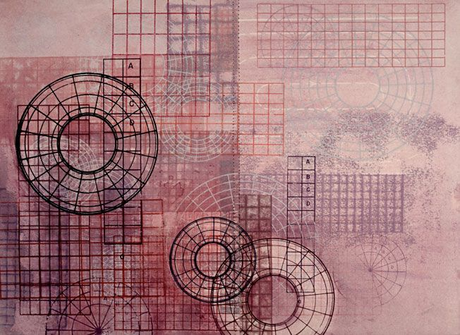 Amanda Knowles. Structural 2009. Mixed media on paper. 5/11. 10 3/4 x 14 3/4 inches.