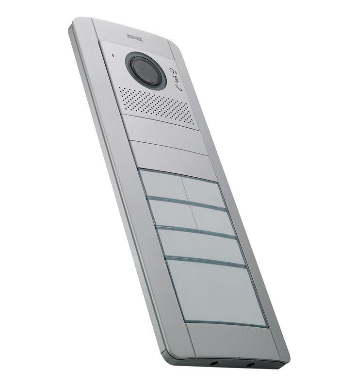 Vimar targa videocitofonica Pixel da due moduli grigio. Frontale audio/video per unità elettronica Due fili plus, simbolo teleloop per protesi acustiche con due copriforo, due pulsanti singoli basculanti per quattro nominativi, con un pulsante singolo assiale per un nominativo e con un pulsante doppio porta numero civico