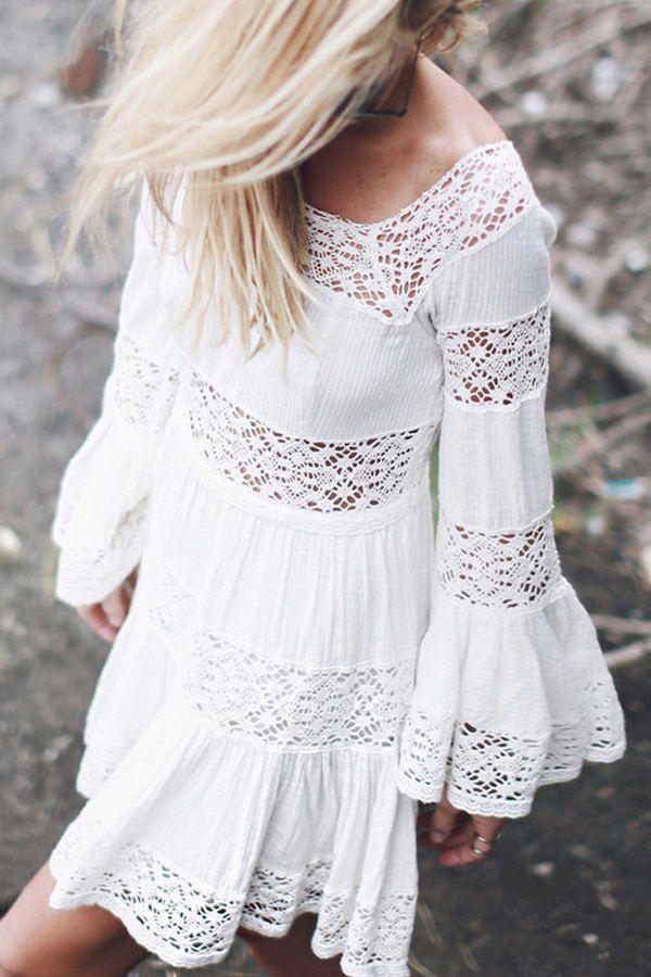 Stylish Round Neck Long Sleeve Lace Spliced Flouncing Women's White Dress