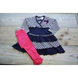 Superleuk jurkje met legging van DIRKJE in maat 80. Gemaakt van een heerlijk tricotstof 95% katoen met 5% elastan in frisse voorjaarskleuren donkerblauw/ wit met een fuchsia roze legging
