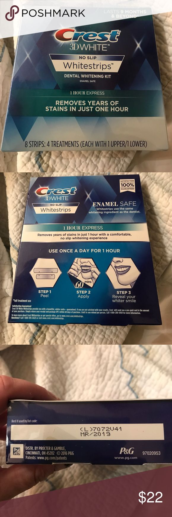 NIB Crest White Strips New Crest white strips 3D. These are no slip whitestrips. There is 4 treatments (8 strips) each with upper and lower. 1 hour express.  Expires 2019. Retails for $54. Price is firm Crest Makeup