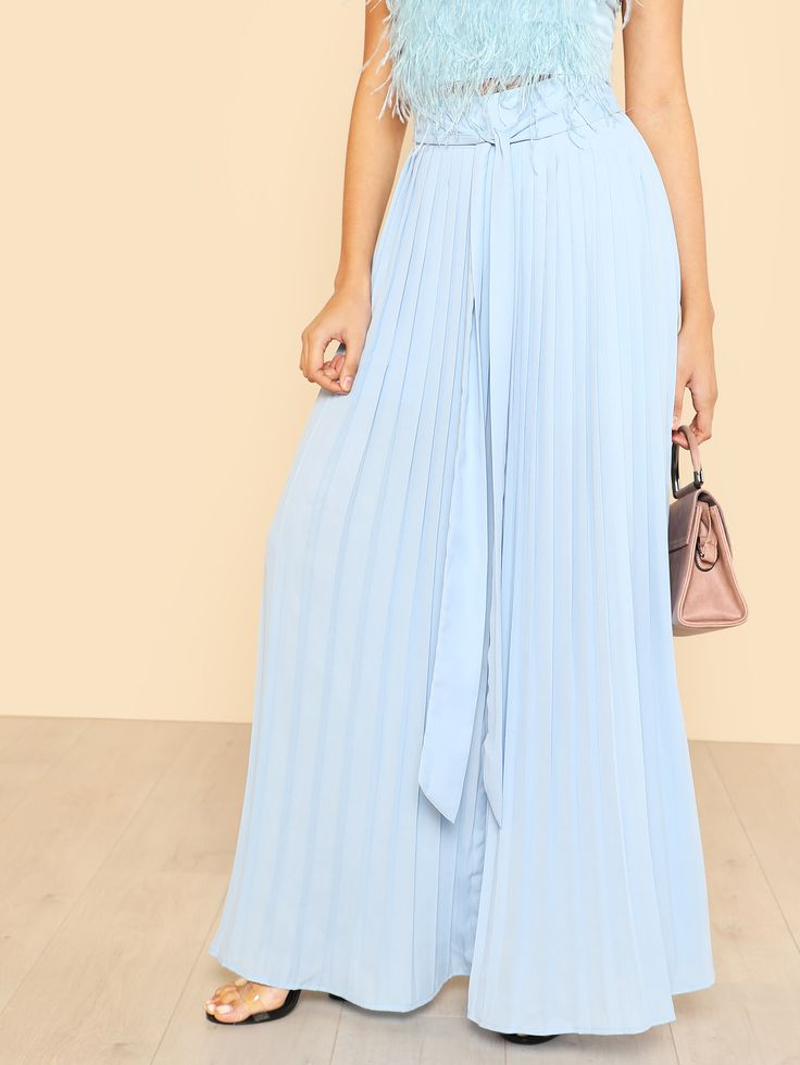 Shop Self Tie Pleated Palazzo Pants online. SheIn offers Self Tie Pleated Palazzo Pants & more to fit your fashionable needs.