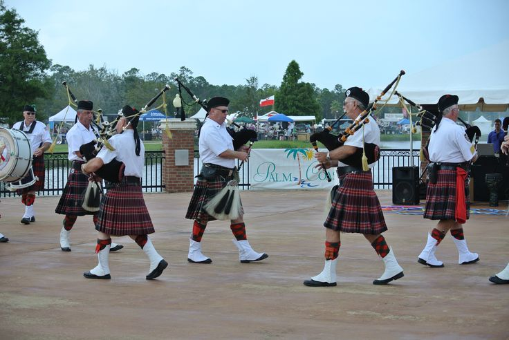 Ancient City Pipes and Drums performing at the 2013 Palm Coast International Food & Wine Festival.