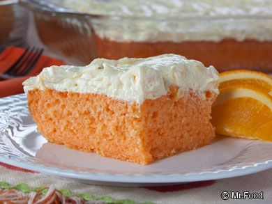 Orange Dream Cake - starts off with a cake mix, but is so much more! | mrfood.com