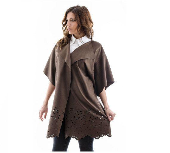 Suede Manto suede coat suede overcoat brown by madecoutureeu