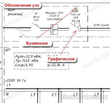Обозначение узо на однолинейной схеме