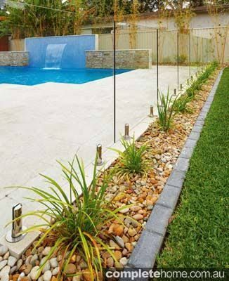 Image result for path between pool fence and house