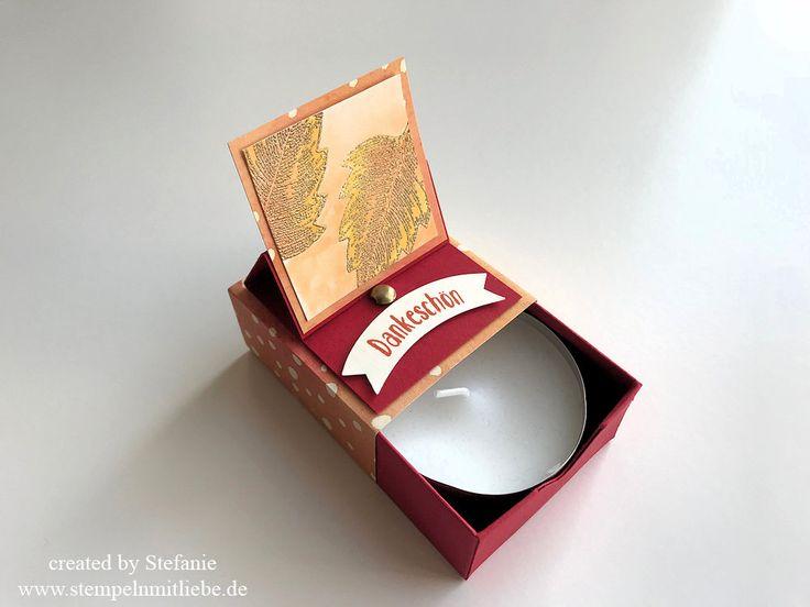 Stampin Up - Karte - Card - Easel-Pop-Up Matchbox - Matchbox - Goldener Oktober - Herbst - Teelicht groß - Stempelset Vintage Leaves - Designerpapier Herbstimpressionen - Glutrot ♥ StempelnmitLiebe