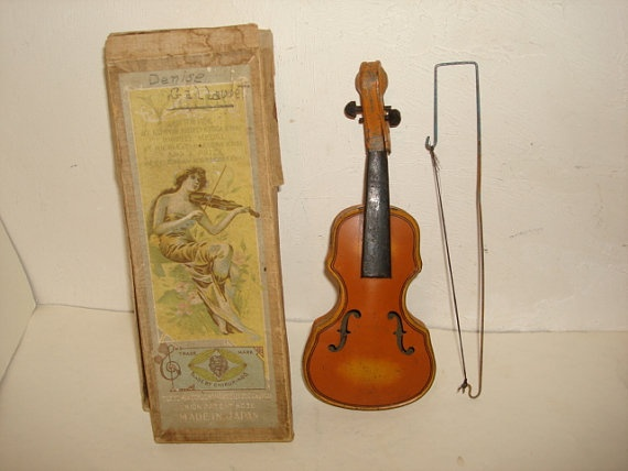 Antique Miniature TIN TOY VIOLIN made by by PastPossessionsOnly, $19.95