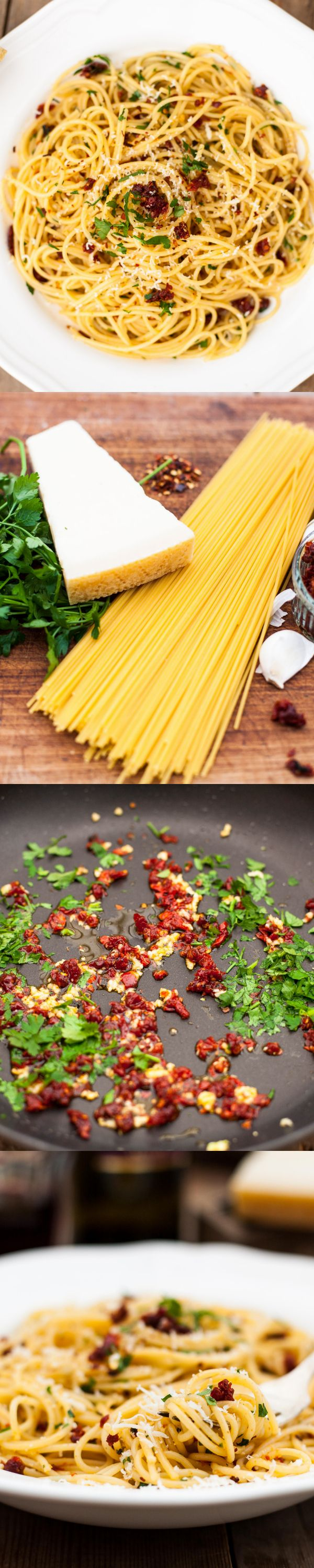 spaghetti alla siciliana (spaghetti with sundried tomatoes, garlic and olive oil). only 5 ingredients.