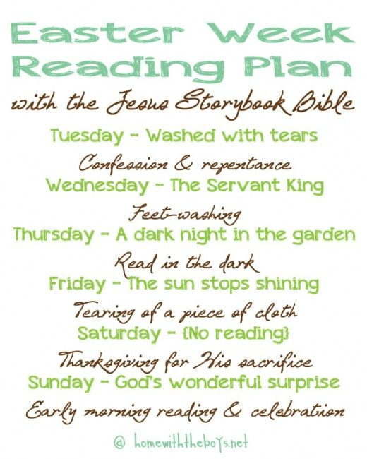 easter week reading plan with the jesus storybook bible