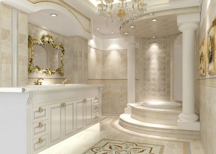 D co salle de bain de luxe et style baroque baroque - Jeu de decoration de maison de luxe ...