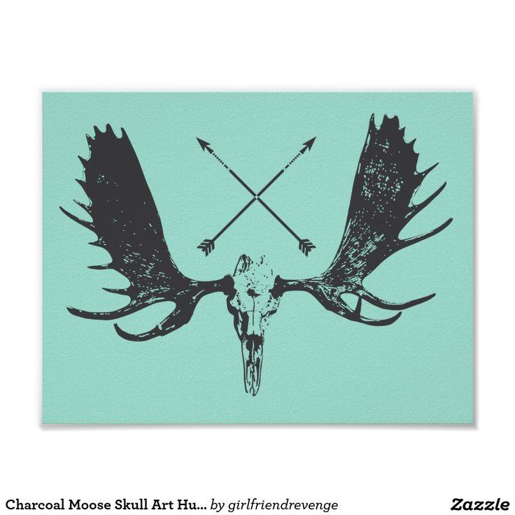 Charcoal Moose Skull Art Hunter / Boho Poster | More ...