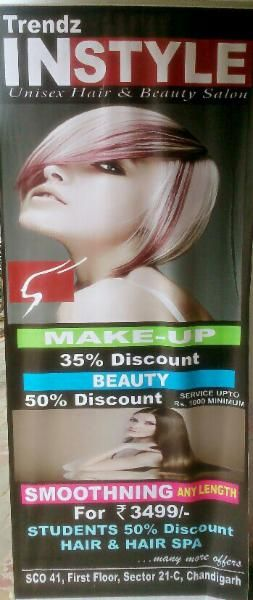 Get 35% Off. on Makeup. 50% Off. on Services up-to Rs. 1000/- Minimum. Smoothing any Length for Rs. 3499/-. For Students 50% discount on Hair & Spa. at Trends Instyle SCO. 41, First Floor, Sector 21 - C, Chandigarh. Offer Valid till 15th October 2015 Get your FreeCoupon Here http://goo.gl/b0vYCr