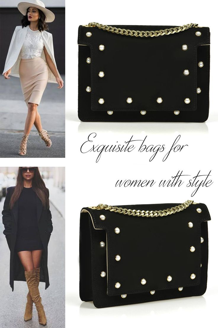 Black Mini Lauren bag with pearls, in limited edition, for chic ladies @w