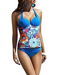 Damen Push Up Tankini Bandeau Blumen Muster NeckHolder Badeanzug Bademode Bikini-Sets