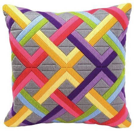 The perfect cushion design for introducing some colour into your home! This vibrant geometric themed cushion panel kit features a striking, overlapping pattern and is ideal for both the novice and experienced stitchers.