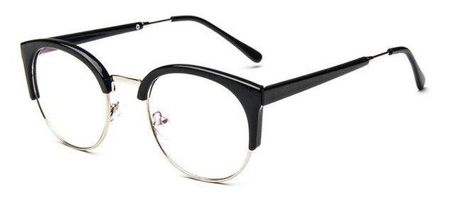 Retro Nerd Glasses Round Cat Eye Glasses Frame for Women Eyeglass Frames Fashion Clear Eyeglasses Optical Eyewear