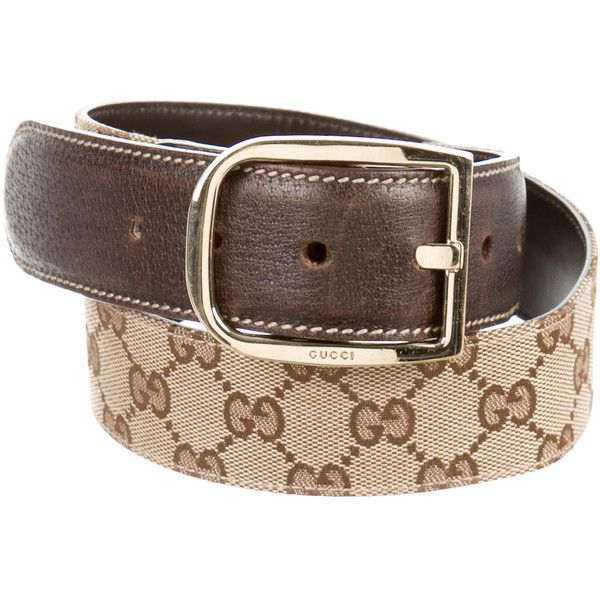 Pre-owned Gucci GG Canvas Belt ($175) ❤ liked on Polyvore featuring accessories, belts, brown, gucci, gucci belt and brown belt