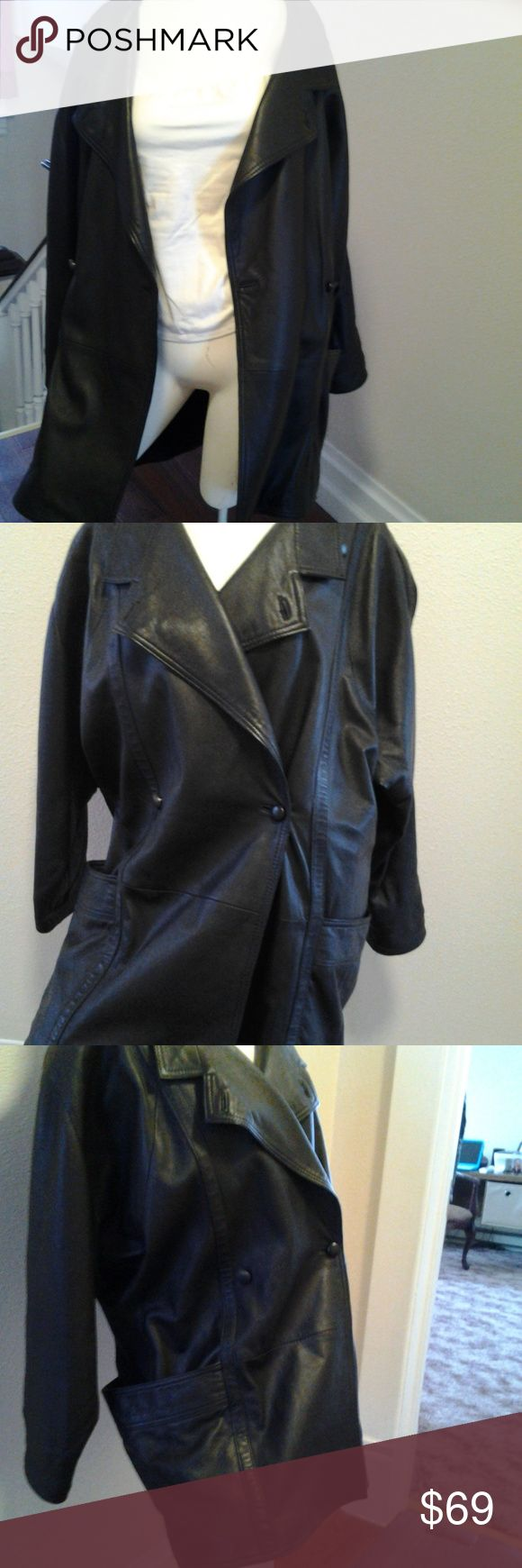 YESSICA Genuine Leather Black 3/4 Coat/Jacket,L Great long