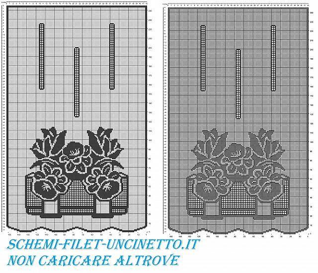 tenda con vaso di narcisi e tulipani schema filet uncinetto gratis