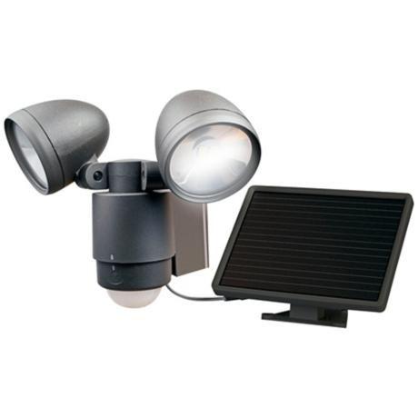 Dark Bronze Dual Head Solar-LED Outdoor Security Light - #4C336 | LampsPlus.com