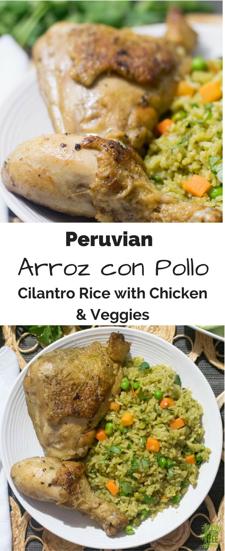 Peruvian Arroz con Pollo- Chicken, cooked with rice, mixed vegetables & cilantro. Savory and full of flavor, the perfect weeknight dish. via @GLUTENFREEMIAMI