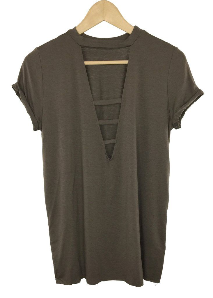 - deep V-neck - strappy neckline - roll -up sleeve - mocha color - 95%rayon and 5% spandex - made in USA