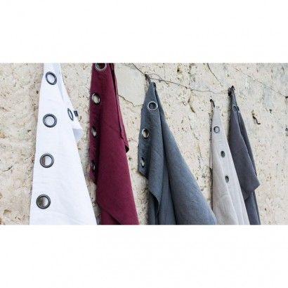 Rideaux lin lavé Propriano - Prune fanée - Rideau Harmony textile