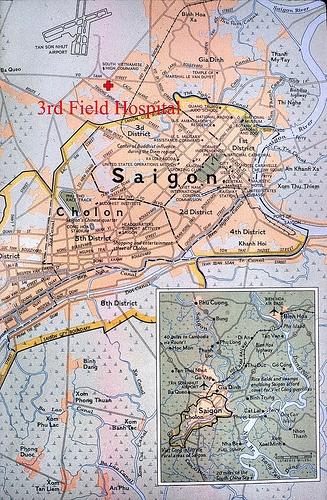 3rd Field Hospital Map of Saigon 1966