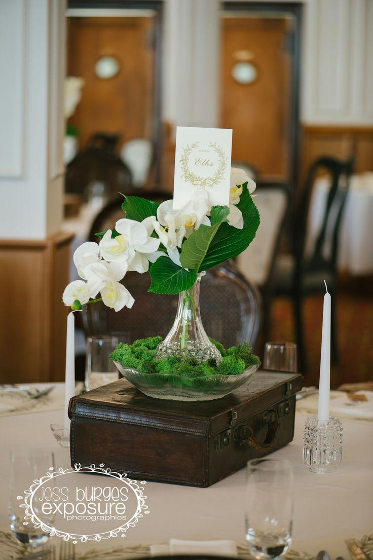 Vintage Table Decorations from My Wedding Day.  #VintageWedding #WhiteWedding #Moss
